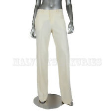$950 GUCCI PANTS WHITE WOOL WIDE FRONT PLEAT TROUSERS sz IT 40 / US 4