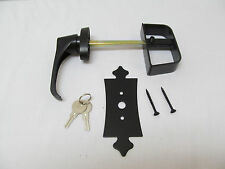 "5-1/2"" Black Decorative L Handle Door Lock Set Shed Door Gate Playhouse"