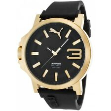Puma PU103911012 Men's Ultrasize Black Silicone Black Dial Gold Watch