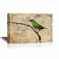 wall26 - Canvas Wall Art - A Green Bird Standing on the Tree Branch - 16x24