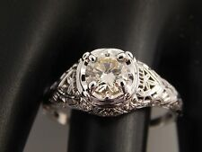 1920's Art Deco Diamond Ring 18K Filigree Large Round .91 ct K/VVS Engagement