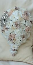WHITE VINTAGE DUSKY BLUSH PINK ROSES BROOCH WEDDING FLOWERS BRIDES  BOUQUET