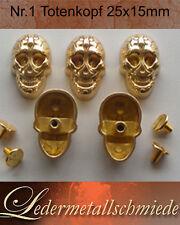 Nr.1 - 5x Totenkopf /Skull , goldfarben,Schraubnieten, Ziernieten,Gothic, Punk