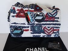 2016S CHANEL CLASSIC DOUBLE FLAP BAG,AIRPLANE COLLECTION,TWEED,SILVER, 100% AUTH