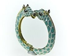 Kenneth Jay Lane Turquoise & White Spots Giraffe Gold Bracelet Cuff Bangle