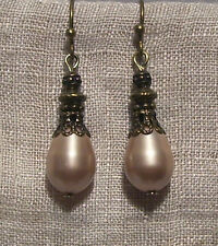BRONZE FILIGREE SWAROVSKI ALMOND PEARL TEAR DROP EARRINGS EDWARDIAN VICTORIAN