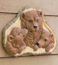 Woodland Decor Bear Family Mama Bear & Cubs Wall Plaque on Wood Slice Backdrop
