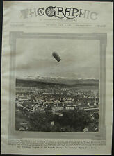 Airship Zeppelin LZ4 Flying Over Zurich Switzerland 1908 1 Page Photo Article