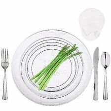 100 Full table Settings Plates, Cups, Cutlery WEDDING SPECIAL Disposable Plastic