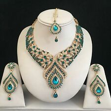 TURQUOISE GOLD INDIAN COSTUME JEWELLERY NECKLACE EARRING CRYSTAL DIAMOND SET NEW
