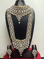 Indian Bollywood Fashion Ethnic Wedding Bridal Gold Plated 8 PCS Jewelry Set