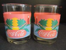 Vtg Pink Summer Theme Set of 2 Tumblers Coco Cola Indiana Glass
