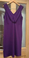 Púrpura/de la berenjena Color Cuello En V Sin Mangas Vestido Talla 14 Cruise Fiesta Boda