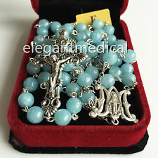 Rare Natural Aquamarine Beads catholic 5 DECADE ROSARY CROSS gifts necklace Box