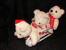 Rare Vintage Steven Smith Cresent Advertising Bears in a Wicker Sled