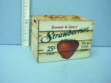 """Dollhouse Miniature Tall Assembled Crate """" Strawberries"""" Laser Creations 1/12"""