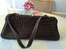 STUNNING MNG BROWN CROCODILE EFFECT HANDBAG SINGLE STRAP - GREAT CONDITION
