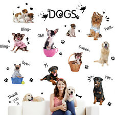 13Pcs PUPPY DOGS Removable Wall Decals Puppies Paw Prints Home Decor Stickers