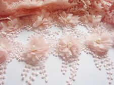 1y Flower Chiffon Lace Edge Trim Pearl Wedding Applique DIY Sewing-Light Pink