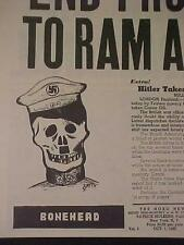 VINTAGE NEWSPAPER HEADLINE ~WORLD WAR 2 GERMAN NAZI ARMY HITLER BONEHEAD WWII~