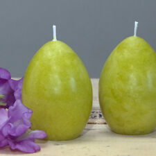 "Set of 2 Lime Green Spring Egg Candles - 2.5"" tall - Easter Egg Candle"