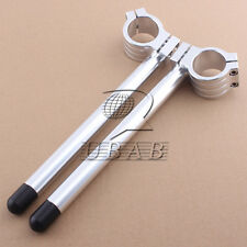 "7/8"" Adjustable Raised Clip On Handlebar Bar 39 MM Fork Tube Custom Silver Pair"
