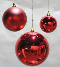"""ONE LARGE OVERSIZE RED CHRISTMAS BALL  PLASTIC SHINY 200mm ORNAMENT 8"""""""