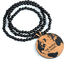 Global Map Hip-Hop Theme Wood  Necklaces Pendant Beads Chain Necklaces Best Gift