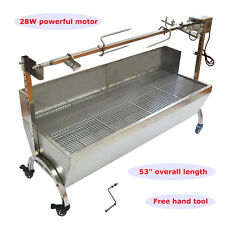 "46"" Stainless Steel BBQ,Chicken Spit Roaster,Rotisserie Spit Large"