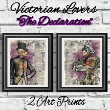 2 DICTIONARY BOOK PAGES ART PRINT Anatomical Goth Victorian Lovers Poster art