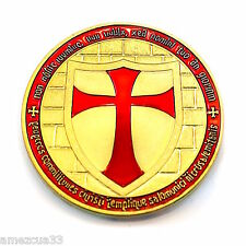 "Knight Templar 1.5"" Round two face Coin Golden Heavy Alloy For Templar Military"