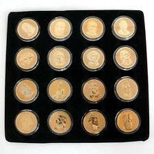 "Lot of 16 gold plated with enamel United States of America 1$ coins "". Lot 22D"