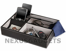 Men's 5 Compartment Valet Jewelry Box Mens Dresser Wallet Tray Office Organizer