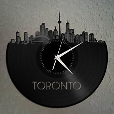 Toronto Skyline Vinyl Wall Clock, Cityscape Clock, Unique Large Wall Clock