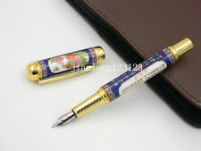 Jinhao Blue and White Porcelain With Penoy Flower Golden Trim M Nib Fountain Pen