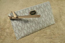 Michael Kors Vanilla MK Signature PVC Large Women's Zip Clutch Wallet