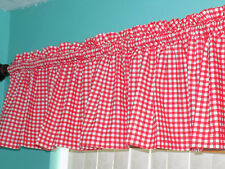 Handmade Red White Check Checked Kitchen Country Window Curtain Valance