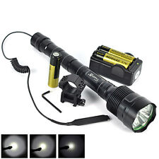 Hunting3800LM 3XXM-L T6 LED Linternas Torch Mount+Pressure Switch+18650+Charger
