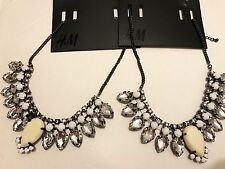 H&M Necklace Set Of Two Statement Rhinestones NWT White