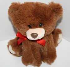 """Just For You Plush TEDDY BEAR Sits 6"""" Brown Stuffed Animal Red Bow Soft Toy"""