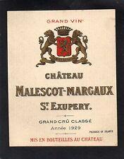 MARGAUX 3E GCC VIEILLE ETIQUETTE CHATEAU MALESCOT ST EXUPERY 1929 RARE§19/12§