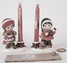 Pair of 2 Napcoware Christmas Candle Holders X8996 Japan Boy Dog Guitar Drum