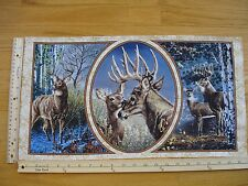 "Buck Doe Deer Birch Trees Wilderness   Cotton Quilt Fabric Block 11"" x 19 3/4"""