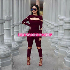 Sexy Women  Ladies Hollow Out  Bodycon Jumpsuit Romper Trousers Clubwear Pants