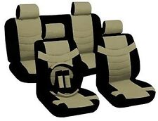 Car Seat Covers Original Accent Black & Tan PU Leather Steering Wheel Set CS4