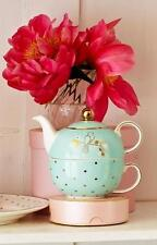 Bombay Duck, Miss Darcy Tea for One, Teacup & Teapot Set in Mint Green & Gold