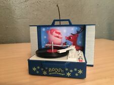 Rudolph Red Nosed Reindeer Record Player Christmas Ornament Plays Holly Jolly