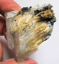 RARE Brazilian Golden Rutile Exposed Quartz Crystal #2 Venus Hair Soul Growth