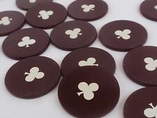 1920's Vintage Clay Poker Gambling Chips, Brown with Clover, Clubs, Set of 26
