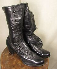 EDWARDIAN, VICTORIAN BLACK LEATHER SIDE BUTTONING HIGH TOP SHOES